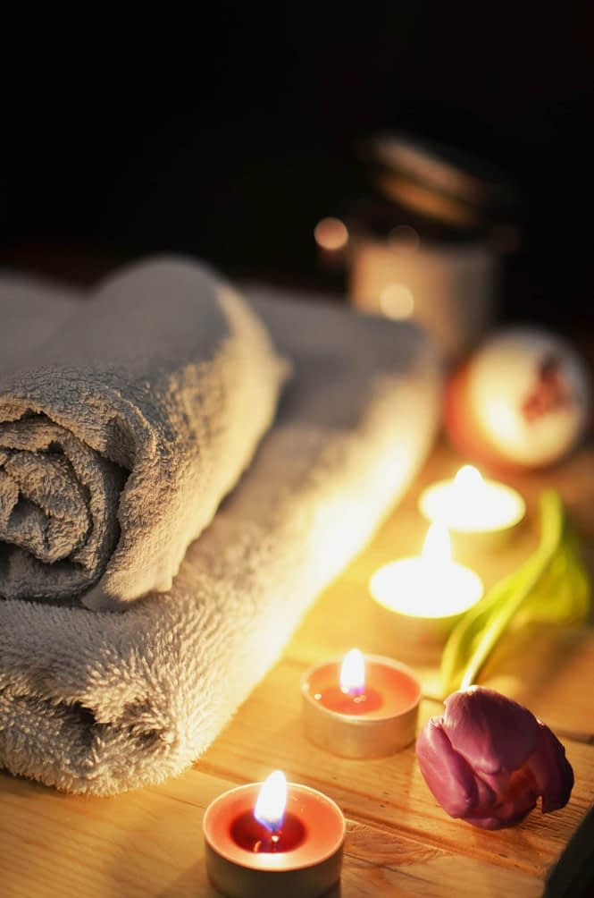 picture of a towel with flowers at a spa